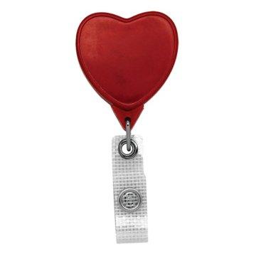 Badge Reel - Jumbo Heart - Anti-Microbial - Red