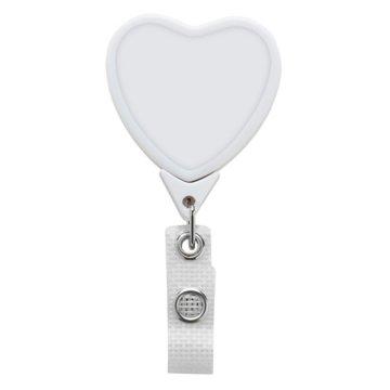 Badge Reel - Jumbo Heart - Anti-Microbial - White