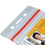 Vertical ID Badge Holder with Sealable Red Stripe