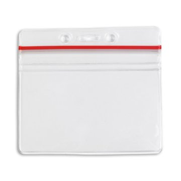 Horizontal ID Badge Holder with Sealable Red Stripe