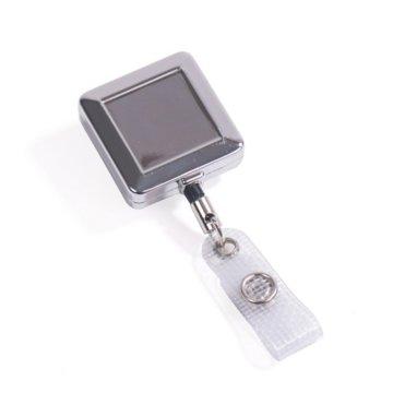 Badge Reel - Heavy Duty Metal - Chrome - Square