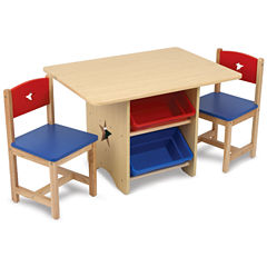 KidKraft® Table and Chairs - Natural with Primary Colors