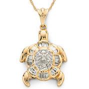 Diamond Turtle Pendant Necklace 1/7 CT. T.W. 10K Gold