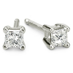 1/5 CT. T.W. 14K White Gold Princess Diamond Studs
