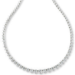 DiamonArt® Sterling Silver Cubic Zirconia Graduated Link Necklace
