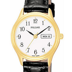 Pulsar® Womens Leather Strap Watch
