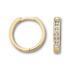 1/6 CT. T.W. Diamond 10K Yellow Gold Hoop Earrings