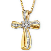 1/4 CT T.W Diamond 14K Yellow Gold-Plated Sterling Silver Cross Pendant Necklace