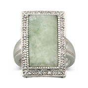 Jade & Diamond-Accent Ring Sterling Silver