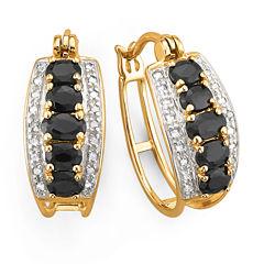 Genuine Sapphire Hoop Earrings