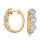 Genuine Sky Blue Topaz & Diamond-Accent Hoop Earrings