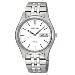 Seiko® Mens Silver-Tone Dial Stainless Steel Solar Watch SNE031