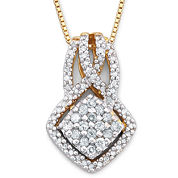 Diamond 3/8 CT. T.W. 14K Gold Over Silver Pendant Necklace