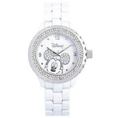 Disney White Enamel Crystal Accent Mickey Watch