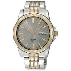 Seiko® Mens Two-Tone Solar Watch SNE098