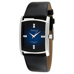 armitron watches armitron watch collection jcpenney armitron® mens black leather blue degrade watch