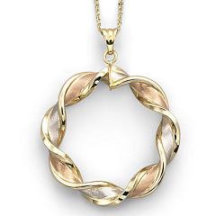 10K Gold Tri-Color Pendant Necklace