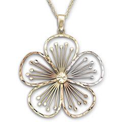Tri-Color Flower Pendant Necklace 10K Gold