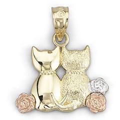 14K Gold Sitting Cats Pendant