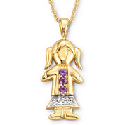 18K Gold-Plated Sterling Silver Birthstone Girl Charm Pendant Necklace
