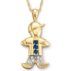18K Gold-Plated Sterling Silver Birthstone Boy Charm Pendant Necklace