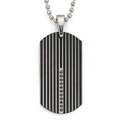 Dog Tag Necklace, .15 ct. t.w. Diamond Steel