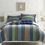 Blue Retro Chic Cotton Striped Quilt & Accessories