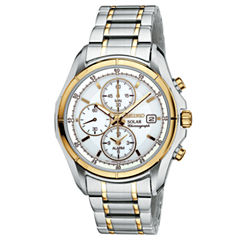 Seiko® Mens Two-Tone Multifunction Solar Watch SSC002