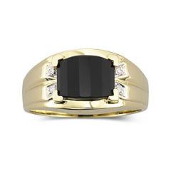 Mens Onyx & Diamond-Accent Ring