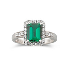 Sterling Silver Lab-Created Emerald & White Sapphire Ring