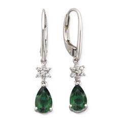 Lab Created Emerald & White Sapphire Drop Earrings