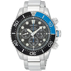 Seiko® Mens Black Dial Two-Tone Stainless Steel Dive Solar Watch SSC017
