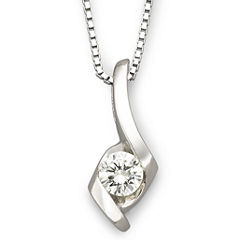 Sirena® 1/5 CT. Diamond Solitaire Pendant 14K White Gold Necklace