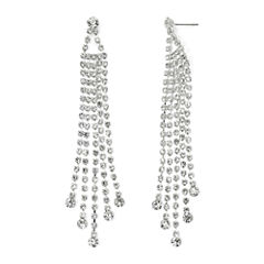 Vieste Silver-Tone Rhinestone 4-Row Chandelier Earrings