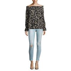 Belle + Sky Off Shoulder Top or Zip Hem Skinny Jeans