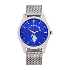 U.S. Polo Assn. Mens Silver Tone Strap Watch-Usc80506jc