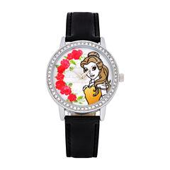 Disney Beauty and the Beast Womens Black Strap Watch-Pn1562jc