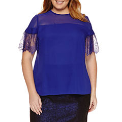 Worthington Short Sleeve Lace Bell Sleeve Blouse-Talls