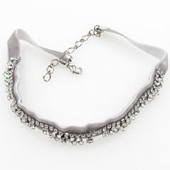 Vieste Rosa Womens White Brass Choker Necklace