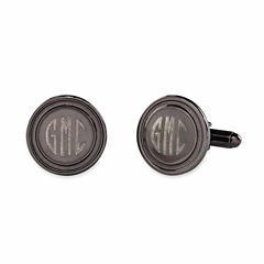 Round Polished Cuff Links w/ Recessed Border