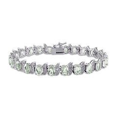 Genuine Green Quartz and Diamond-Accent Sterling Silver Bracelet