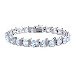 Genuine Sky Blue Topaz and Diamond-Accent Sterling Silver Bracelet