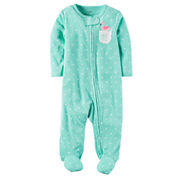 Carter's Girl Mint Dot Footed Sleep-N-Play