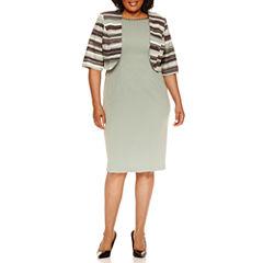 Maya Brooke Elbow Sleeve Jacket Dress-Plus