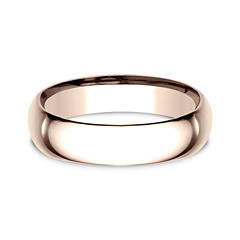 Mens 14K Rose Gold 5.5MM Low Dome Comfort-Fit Wedding Band