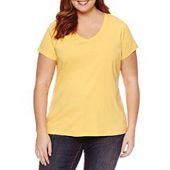 St. John's Bay Short Sleeve V Neck T-Shirt-Plus