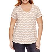 St. John's Bay® Short Sleeve V-Neck T-Shirt - Plus