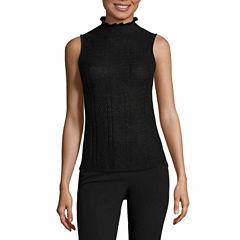 Worthington Sleeveless Trim Pullover Sweater-Talls