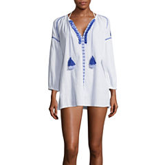 Suhani Embroidered Solid Cotton Swimsuit Cover-Up Dress