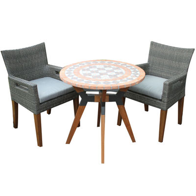 Outdoor Interiors 30 In. Terra Cotta Bistro Tablewith Eucalyptus And Metal  Base